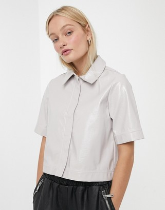 Monki co-ord patent cropped top in light beige