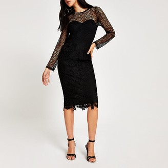River Island Forever Unique black lace bodycon midi dress