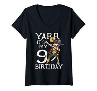 Womens Dabbing Pirate Skeleton 9th Birthday Party Shirt Gift Boys V-Neck T-Shirt