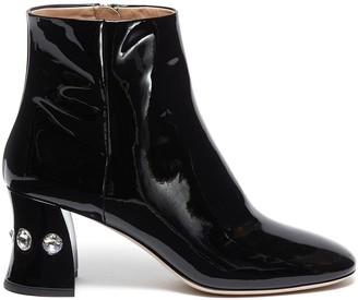 Miu Miu Glass crystal heel patent leather ankle boots
