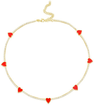 Sphera Milano 18K Over Silver Cz Choker Necklace