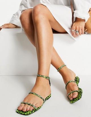 ASOS DESIGN Fuscia embellished flat sandals in bright green leopard