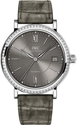 IWC IW458104 Portofino alligator-leather and diamond watch