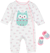 Vitamins Baby White & Pink Owl Playsuit & Socks - Infant