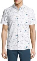 Original Penguin Short-Sleeve Paint Brush Printed Shirt