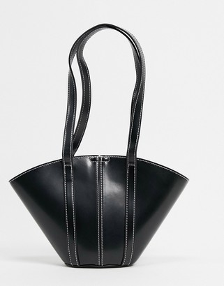 ASOS DESIGN mini vase tote in glossed black with contrast top stitch