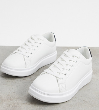 ASOS DESIGN Wide Fit trainers with chunky sole and contrast heel in white