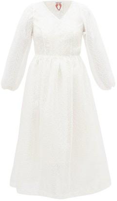 Shrimps Georgia Broderie-anglaise Organza Wrap Dress - White