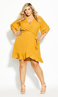 City Chic Flutter Daze Dress - butterscotch
