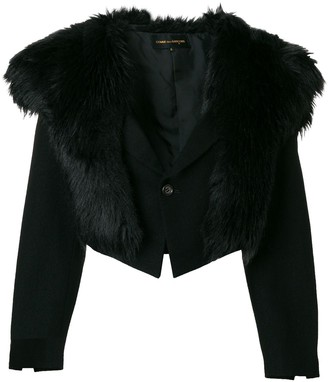 Comme Des Garçons Pre Owned Faux-Fur Collar Cropped Jacket