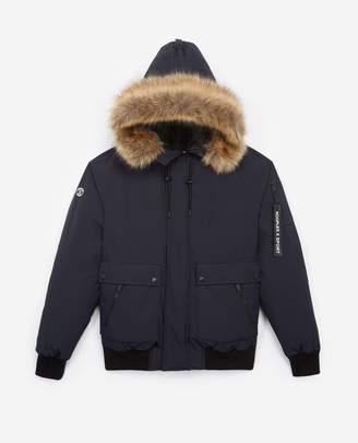 The Kooples Short nylon blue down jacket with hood
