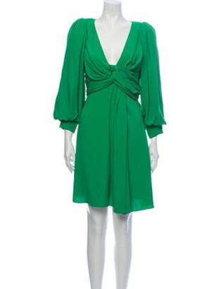 Celine V-Neck Mini Dress Green