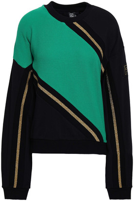 P.E Nation Metallic-trimmed Waffle-knit And French Cotton-terry Sweatshirt