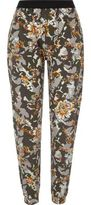 River Island Womens Green camo and floral print jersey joggers