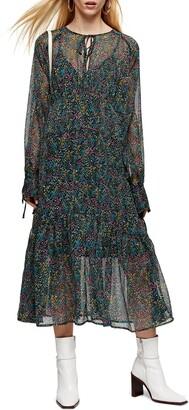 Topshop Ditsy Floral Chiffon Long Sleeve Midi Dress