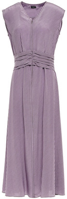 Joseph Tess Ruched Houndstooth Silk Crepe De Chine Midi Dress
