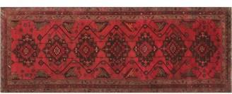 """Bloomsbury Market One-of-a-Kind Sadik Handmade Kilim 3'6"""" x 9'7"""" Wool Red/Black/Brown Area Rug"""