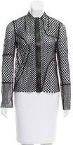 Akris Leather-Accented Embroidered Cardigan