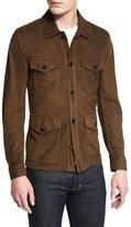 Tom Ford Lightweight Suede Button Jacket, Olive