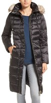 Eliza J Women's 'Cire' Faux Fur Trim Hood Long Down Coat