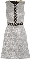 Michael Kors Embellished Metallic Brocade Mini Dress - Silver