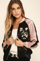 LuLu*s Girl Squad Pink and Black Embroidered Satin Bomber Jacket