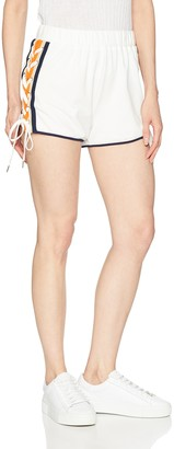 EVIDNT Women's Knit Track Short with Lace up Details on Sides
