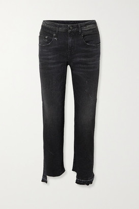 R 13 Boy Straight Frayed Mid-rise Jeans - Black
