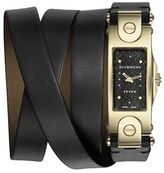 Givenchy Seven Goldtone Stainless Steel & Leather Wrap Strap Watch
