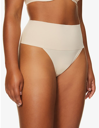 Spanx Undie-tectable high-rise woven and floral-mesh thong