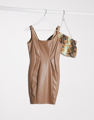 Flounce London Club PU bodycon dress in mink