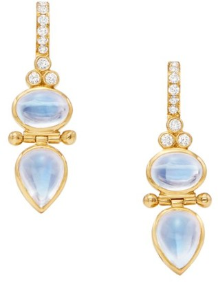 Temple St. Clair Dynasty Double Moon 18K Yellow Gold, Blue Moonstone & Diamond Drop Earrings