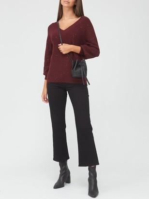 Very V-Neck Sequin Jumper - Burgundy