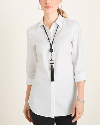 No Iron Cotton Stain Shield Roll-Tab Sleeve Tunic