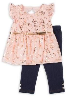 Little Lass Little Girl's 2-Piece Butterfly-Print Top & Legging Set