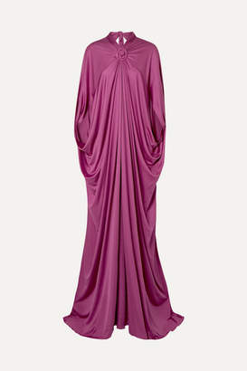 Reem Acra Draped Silk-jersey Gown - Plum