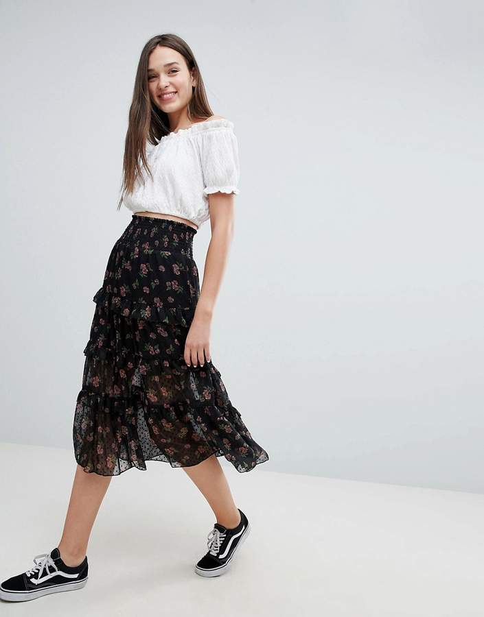 Asos Design DESIGN tiered midi skirt with shirred waistband in floral print
