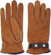 Mario Portolano Shearling Gloves With Snap Button Strap