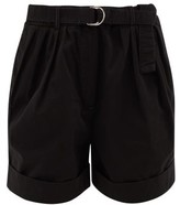 Acne Studios Rowanne Belted Cotton-twill Shorts - Womens - Black
