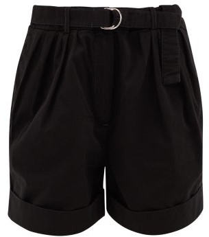 Acne Studios Rowanne Belted Cotton-twill Shorts - Black