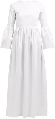 The Row Sora Bell-sleeve Cotton-blend Maxi Dress - Womens - White