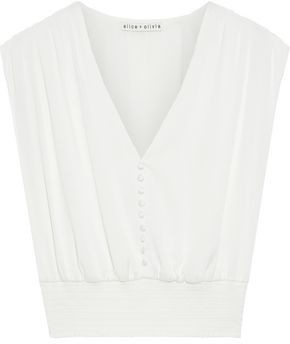 Alice + Olivia Lorretta Cropped Shirred Washed Stretch-silk Top
