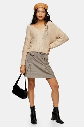 Topshop Camel Check Split Mini Skirt
