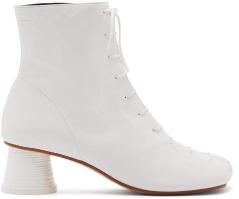 MM6 MAISON MARGIELA Cup Heel Leather Ankle Boots - Womens - White