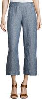 Max Studio Linen Crop Pant, Indigo