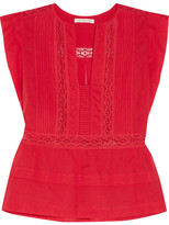 Etoile Isabel Marant Rodge Lace-trimmed Cotton-voile Top - Red