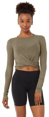 Alo Yoga Cover Long Sleeve Top Olive Branch Medium