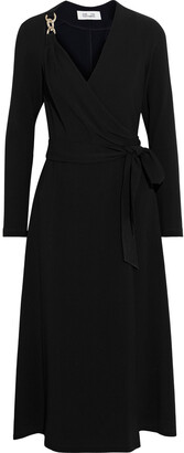 Diane von Furstenberg Scout Chain-embellished Crepe Midi Wrap Dress