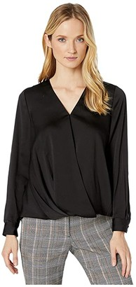 Vince Camuto Long Sleeve Wrap Front Hammer Satin Blouse (Rich Black) Women's Blouse