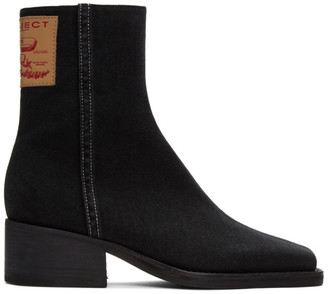 Y/Project Black Denim Fitted Ankle Boots